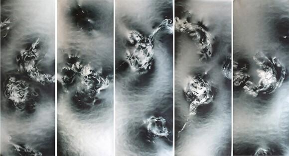 """Fascinomas 5 Panel,"" 96""x185"", Acrylic on paper (2011)"