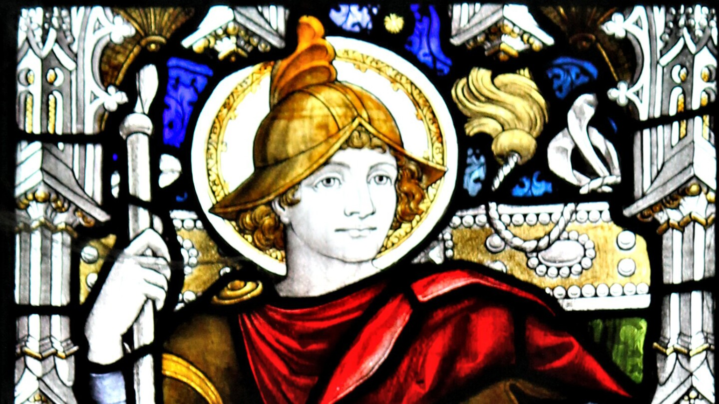 Stained glass of King Arthur in Llandaf Cathedral, Cardiff, South Wales.