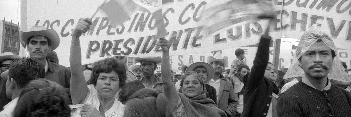 CSRC_LaRaza_B11F14S3_N016 A government-sponsored demonstration for workers in support of President Luis Echeverria in Mexico City | Maria Marquez Sanchez, La Raza photograph collection. Courtesy of UCLA Chicano Studies Research Center
