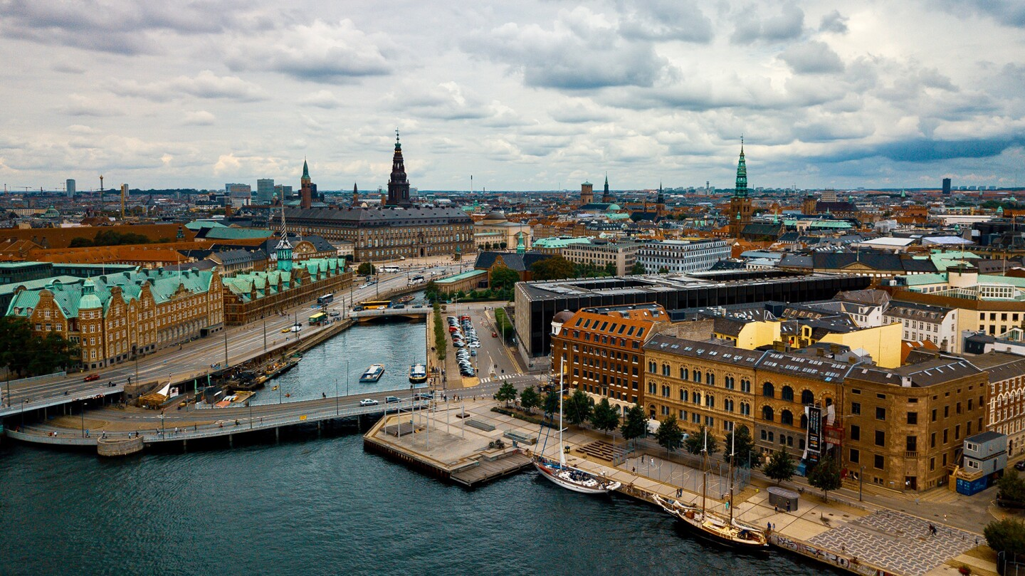 An aerial shot of a city in Denmark.