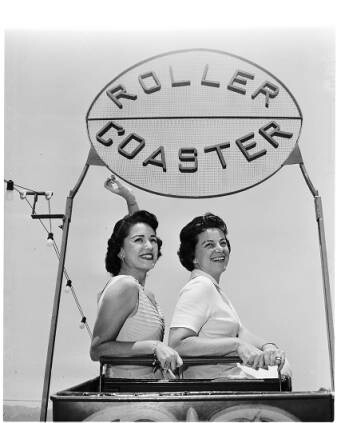 2 ladies ride the roller coaster at Beverly Park ca. 1958 | Photo: Courtesy of USC Digital Archives