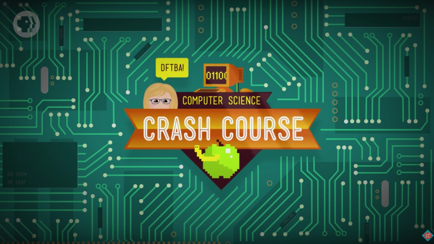 "Key Art for ""Crash Course Computer Science"" depicting a circuit board."