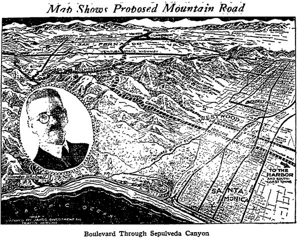 Map of Sepulvada Canyon Road with insert photo of Gordon Whitnall, Los Angeles Times, November 11, 1923