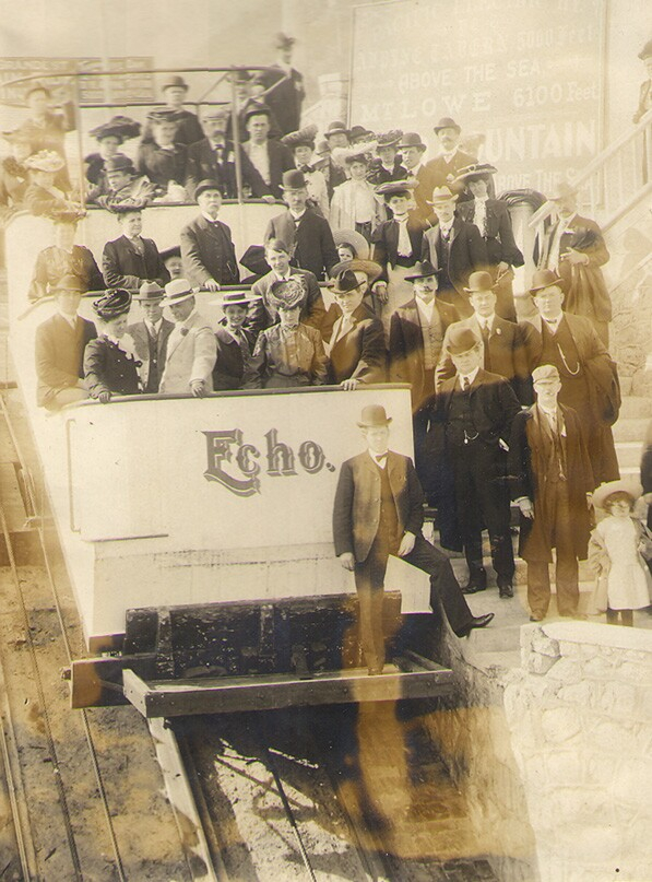 Echo Mountain funicular in the late 1890s. John Clifford Cowles, Scrapbook, William Andrews Clark Library, UCLA.