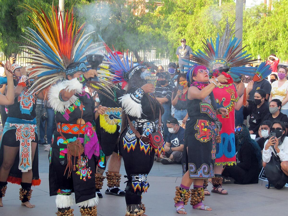 Several danzantes give a danza presentation at a Juneteenth celebration in Boyle Heights' Mariachi Plaza | Anthony Nittle