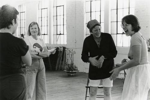 Feminist Studio Workshop (L to R) Anne Mavar, Brit Val Kierkegaard, and Terry Wolverton | Photo: Woman's Building Image Archive