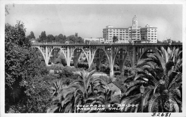 Countless photographers and postcard makers have turned their cameras toward the Colorado Street Bridge. Courtesy of the Frasher Foto Postcard Collection, Pomona Public Library.