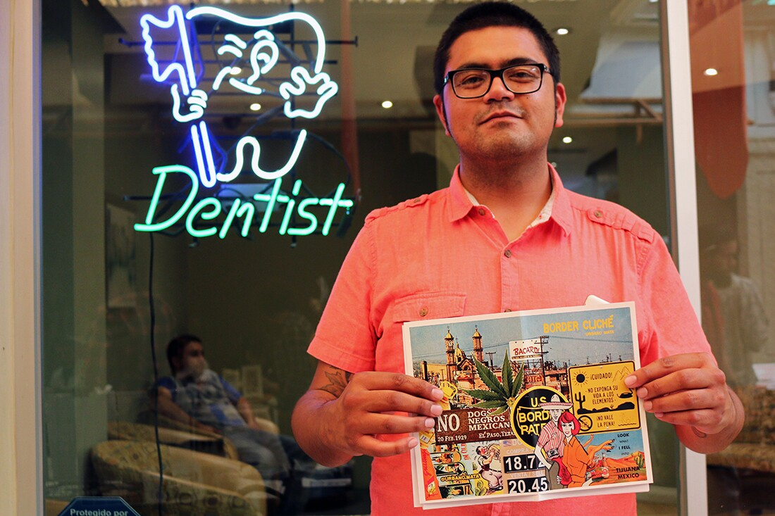 "Tijuana comic artist Urbano Mata with his zine ""Border Cliche"" | Samanta Helou Hernandez"