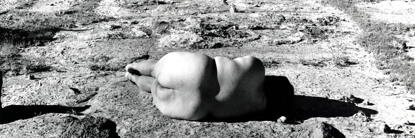 Laura Aguilar, Nature Self-Portrait #2 , 1996   Courtesy of the artist and the UCLA Chicano Studies Research Center. © Laura Aguilar No Tresspassing AB s9