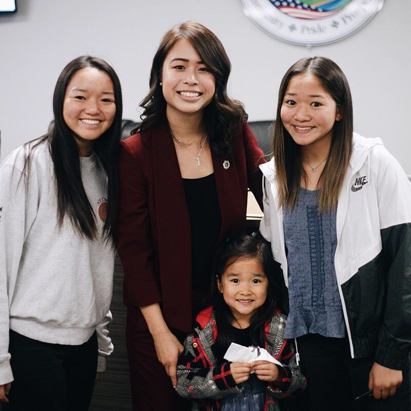 Jocelyn Yow with her cousins at Yow's city council swearing in ceremony. | Courtesy of Jocelyn Yow