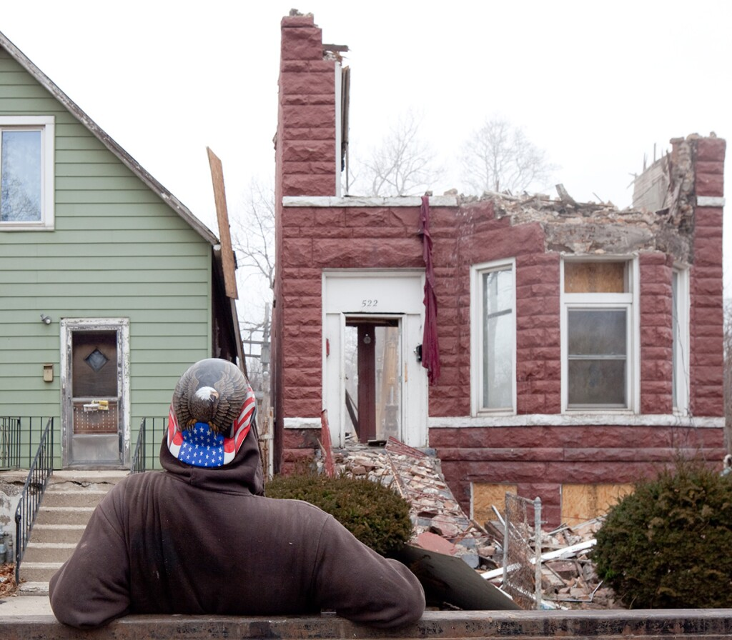"A house is demolished in the neighborhood featured in ""The Area."""