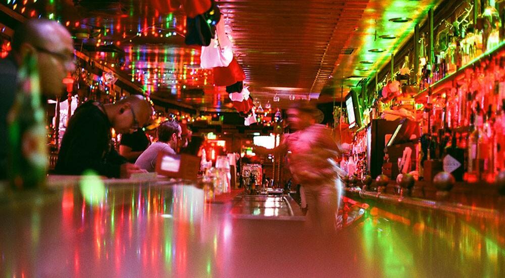 The indoor bar.