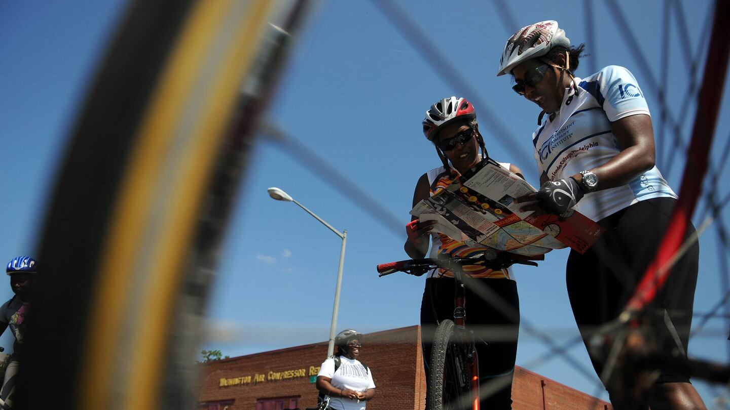 Members of Black Women Bike DC, a newly formed group. Photo by ASTRID RIECKEN For The Washington Post via Getty Images