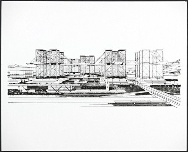 Harlan Georgescu's Sky Lots, planned for downtown Los Angeles in 1964. Courtesy of the Getty Research Institute.