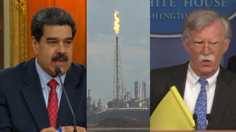 "Venezuelan President Nicolás Maduro (left) and John Bolton, the national security adviser (right). | Still from ""Democracy Now"""
