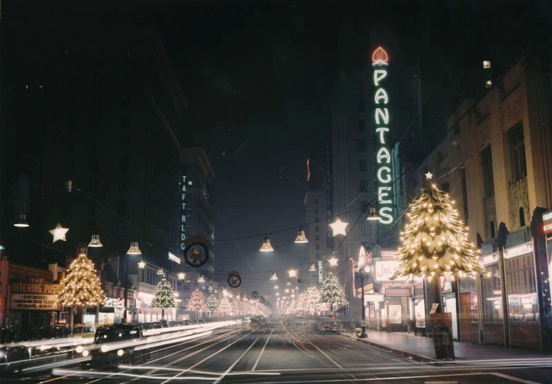 Hollywood Blvd. transformed into Santa Claus Lane, circa 1950. Courtesy of the Photo Collection, Los Angeles Public Library.