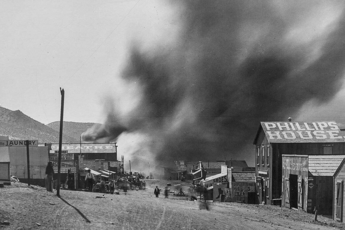One of several fires that would ravage Randsburg, CA. Photographed by C.W. Tucker in 1898. | Courtesy of the Covina Historical Society.