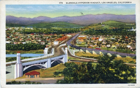 1931 postcard of the Glendale-Hyperion Bridge. Courtesy of the Werner von Boltenstern Postcard Collection, Department of Archives and Special Collections, Loyola Marymount University Library.