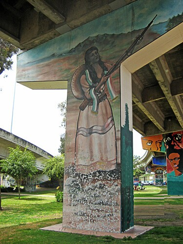"Felipe Adame, ""La Adelita"" (1978), from murals of Chicano Park. Restored in 2011 by Felipe Adame and Guillermo Rosette."