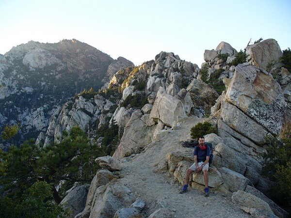 A hiker along the Pacific Crest Trail in the San Jacinto Mountains in Southern California.