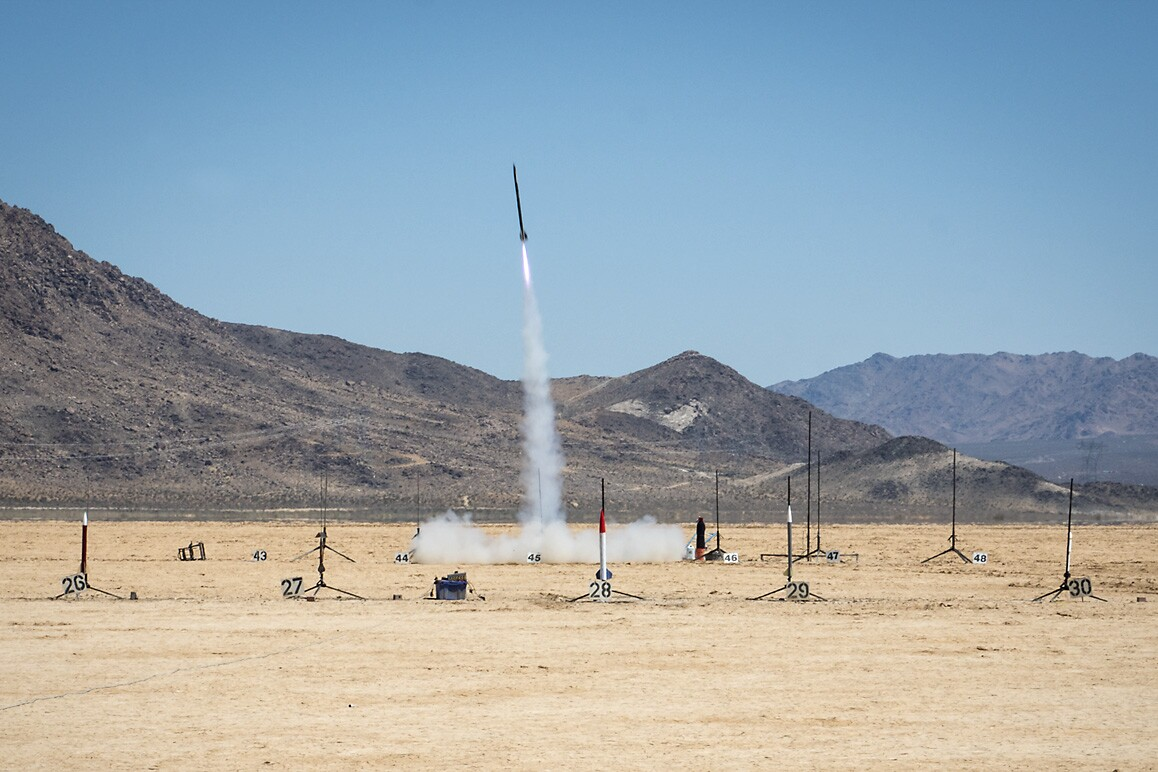 Rocket launch at ROCstock, Lucerne Valley, CA (2015). | Kim Stringfellow.