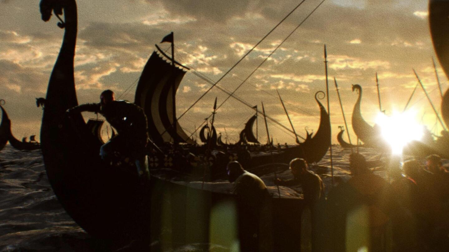 "Viking armies row on ships with the sun on the horizon. | ""NOVA: Lost Viking Army"""