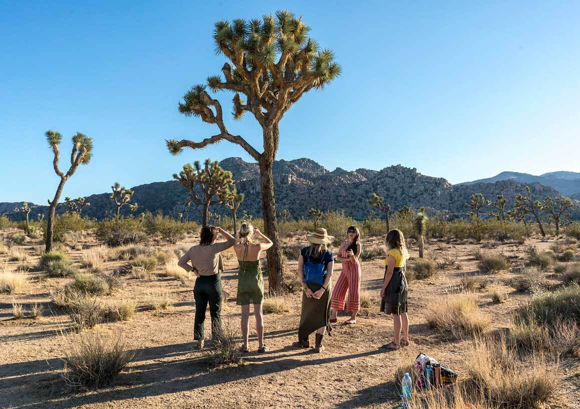 Artist/ecologist Juniper Harrower (second from right) giving a presentation at one of her Joshua Tree research sites in Joshua Tree National Park. | Kim Stringfellow.