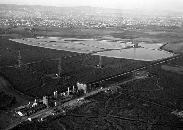 Aerial view of the Ballona Lagoon wetlands shortly before they were transformed into Marina Del Rey. Courtesy of the Los Angeles Examiner Collection, USC Libraries.
