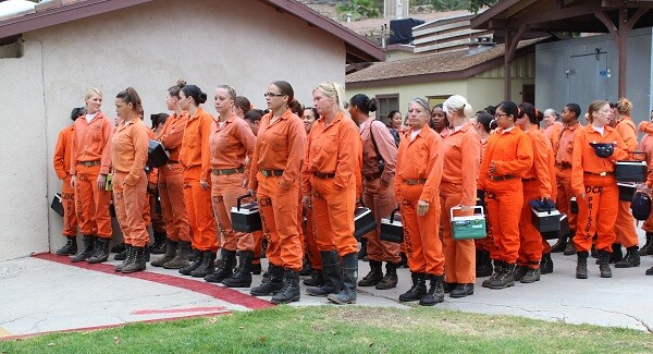 Inmates waiting to cross the line.