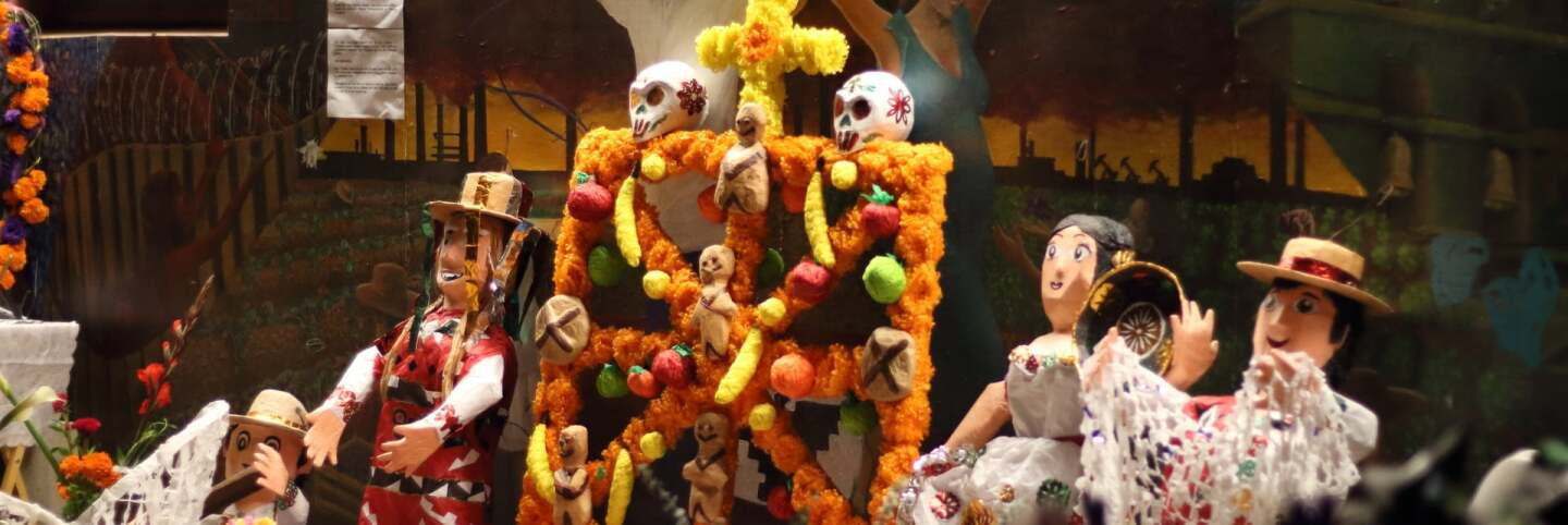 The collaborative piñatas from the workshop on display at the CSUN Chicano House for the 2016 Day of the Dead festivities | David Figueroa, courtesy of Dignicraft PST LALA Talking to Action