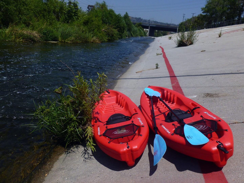 Kayaks are available for rent near Glendale Narrows.   Sandi Hemerlein