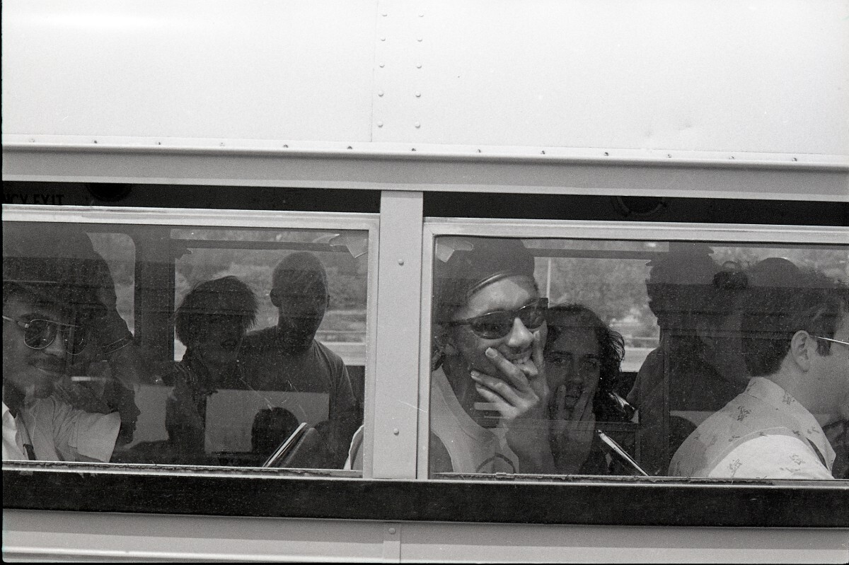 Bus window, Desolation Center: Mojave Exodus, 1983 | Mariska Leyssius