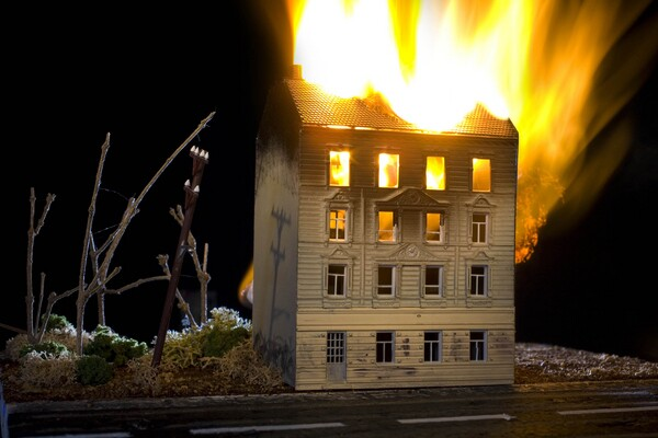"""""""Sunset Hotel Fire"""" by Tony Maher. (Image courtesy of Andi Campognone Projects)"""