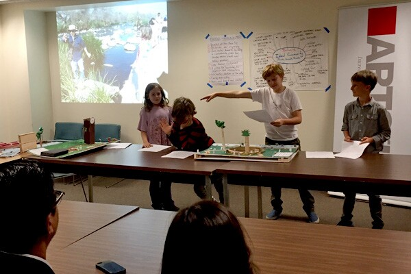 LFCSA students present their prototype for a native garden at the Bowtie Parcel