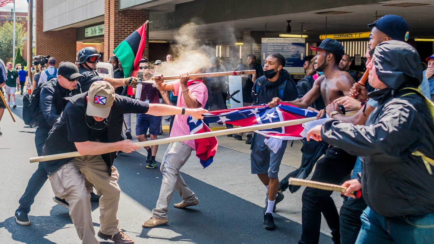 On Saturday, August 12, 2017, white supremacist groups clashed with hundreds of counter-protesters during the 'Unite The Right' rally in Charlottesville, Va. | Michael Nigro/Pacific Press/LightRocket via Getty Images