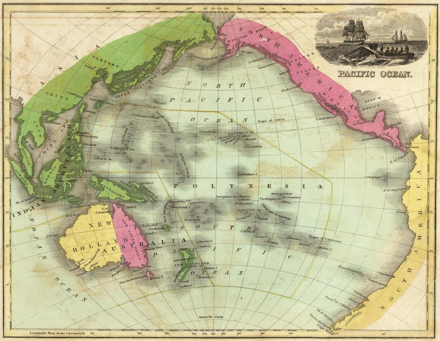 1842 map of the Pacific Ocean