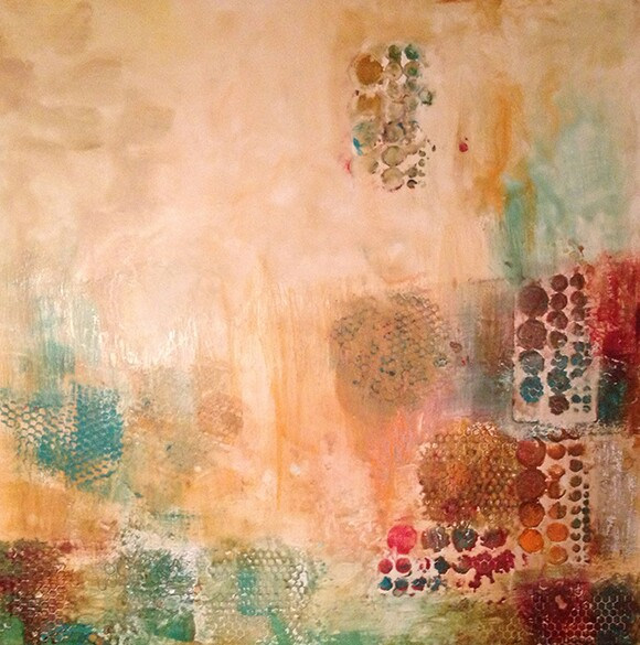"""Rugged Terrain"" by Natasha Shoro, 2013, encaustic and mixed media on wood panel, 30""x30"" 