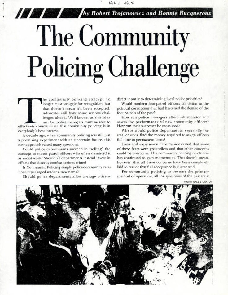 The Community Policing Challenge by Robert Trojanowicz and Bonnie Bucqueroux, Vol. 1 No. 4. | Los Angeles Webster Commission records, 1931-1992, USC Digital Libraries
