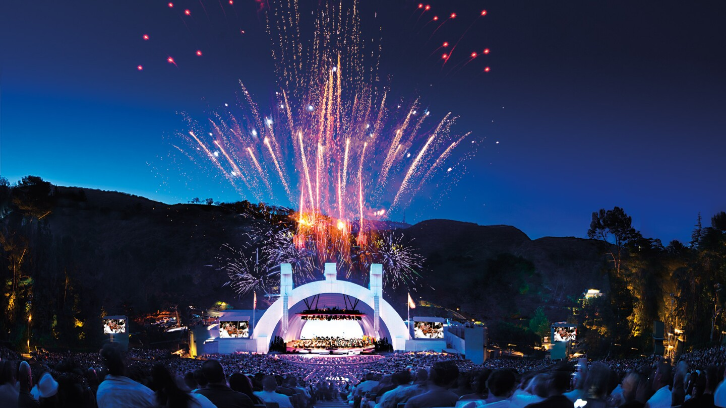 Hollywood Bowl shell with fireworks | Adam Latham