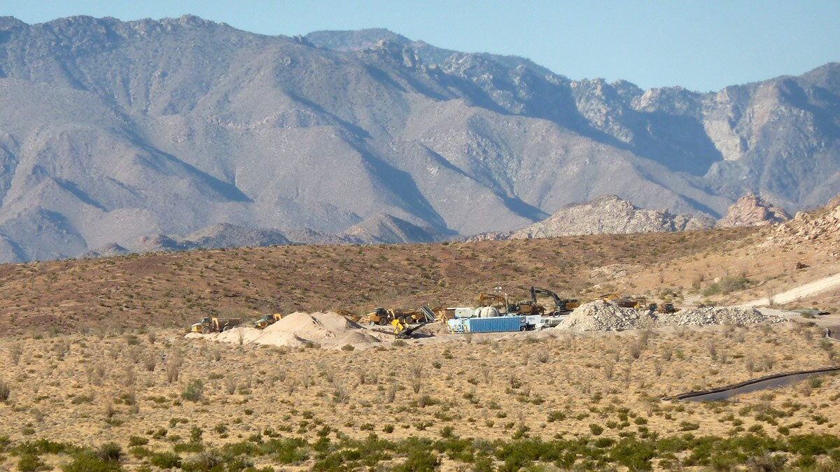 View of Skull Valley looking south. The equipment is exactly on the border; the pipeline is slightly visible on the center right; and the mountains in the picture are in Mexico. June 28, 2020 | Craig Deutsche