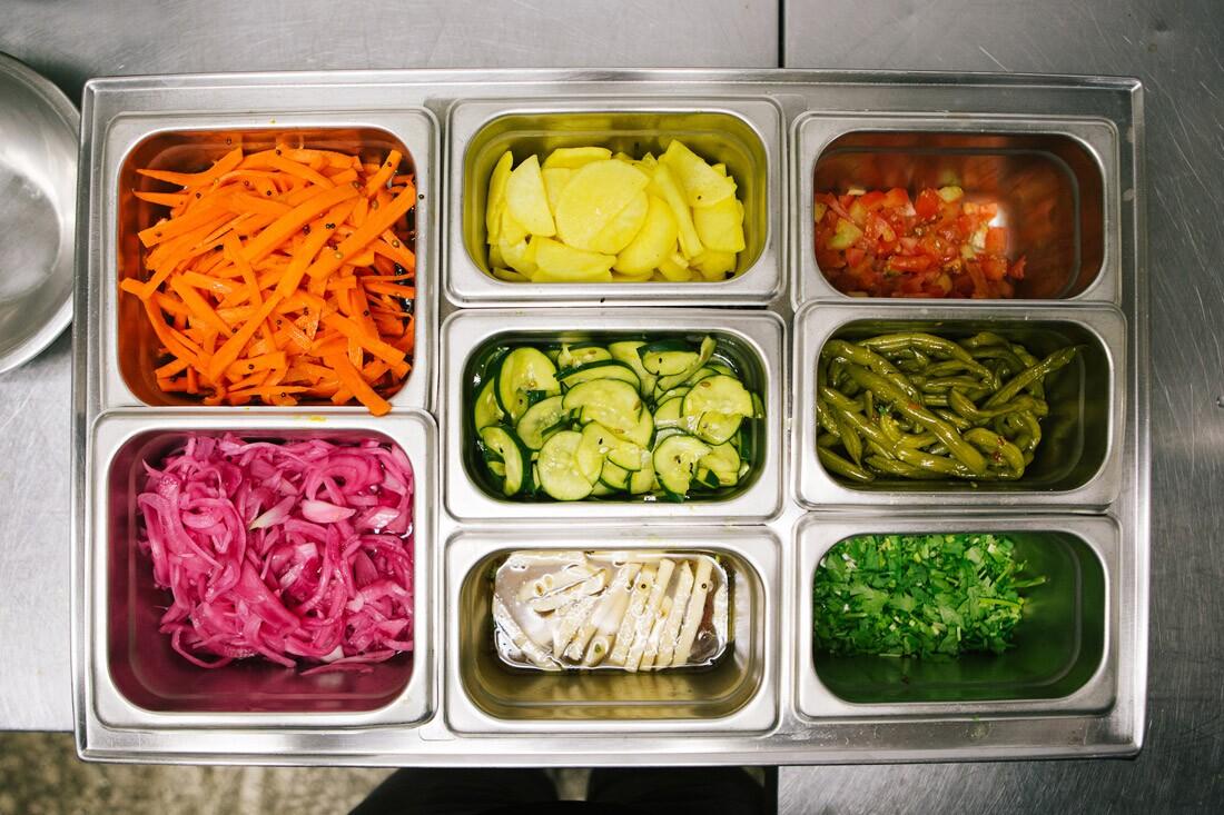 Various pickled vegetables in the kitchen of Badmaash
