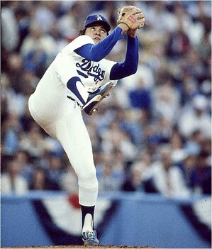 Fernando Valenzuela (aka El Toro) was a baseball sensation in the 1980s and inspired Mexican and Mexican American baseball players everywhere. Photo courtesy of Sports Then and Now.
