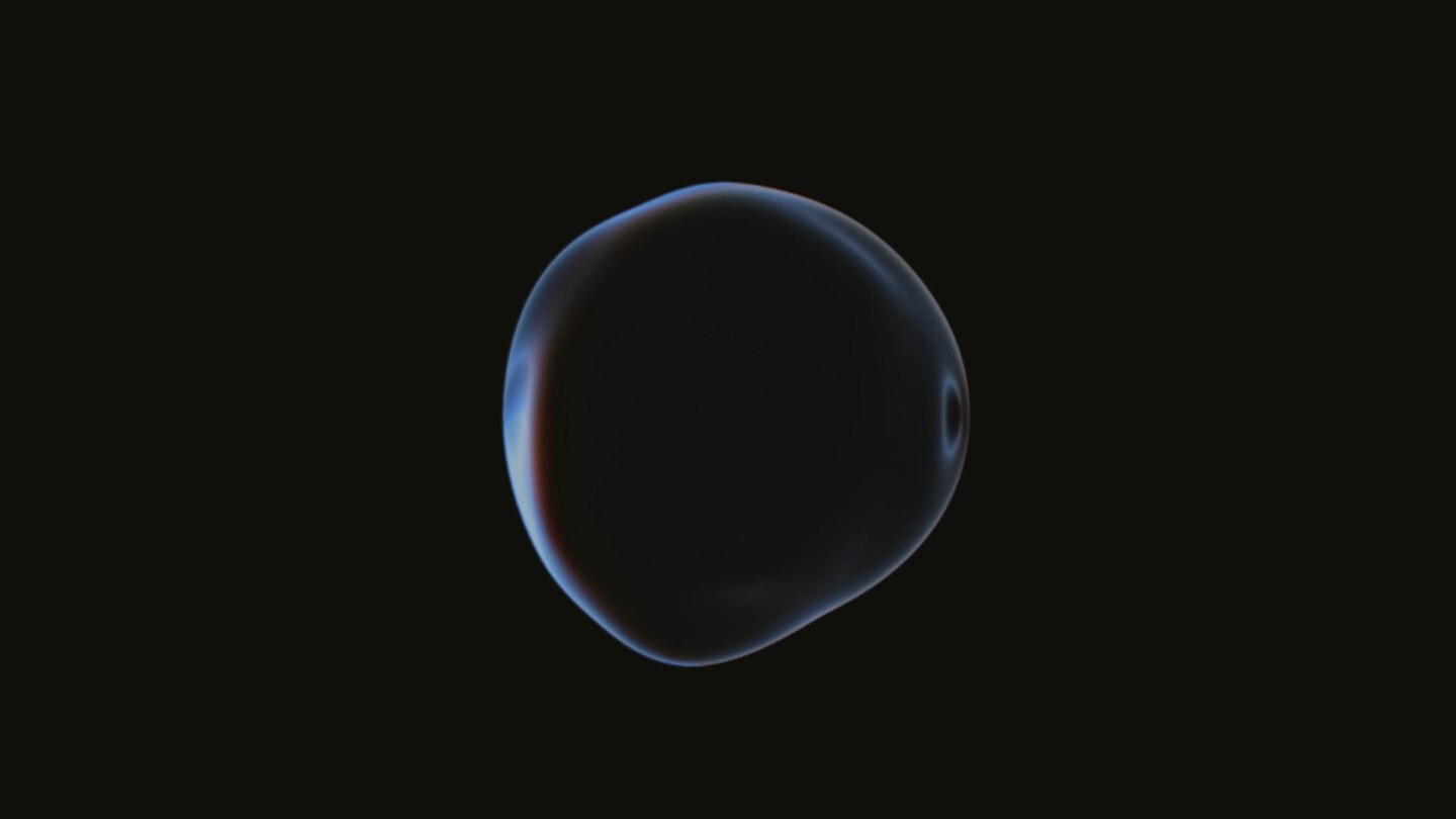 A bubble-type shape appears against a void.