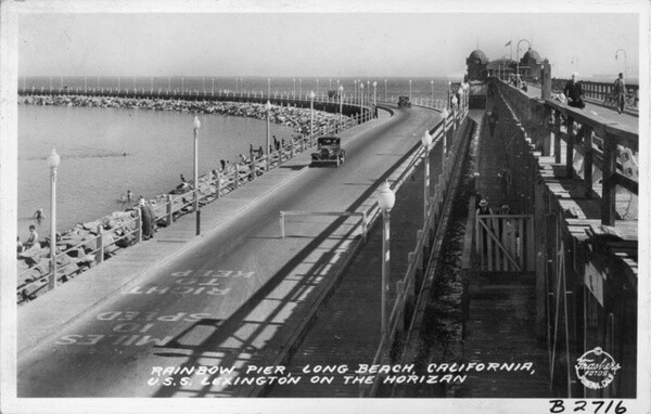 1940 postcard of the Rainbow Pier. Courtesy of the Pomona Public Library - The Frasher Foto Postcard Collection.