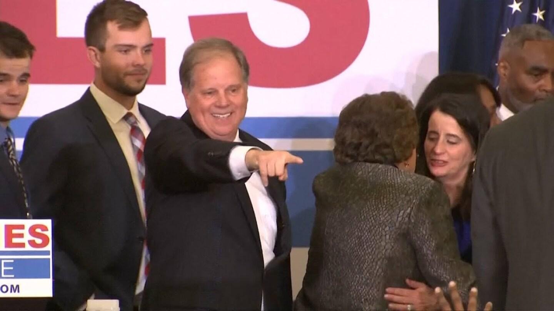Senator Doug Jones at a victory night celebration. | Democracy Now