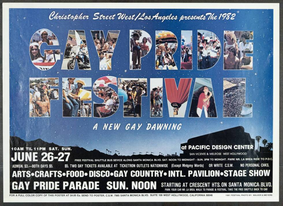 "Christopher Street West/Los Angeles presents the 1982 gay pride festival featuring the words ""A new gay dawning,"" poster. 