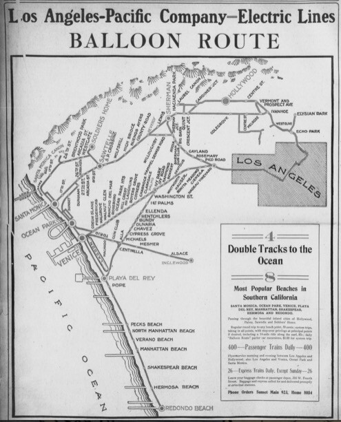 Map of the Pacific Electric's Balloon Route