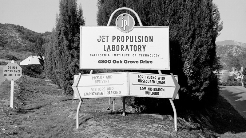 Then: JPL entrance in 1957. Since then, the official lab sign has been moved south.
