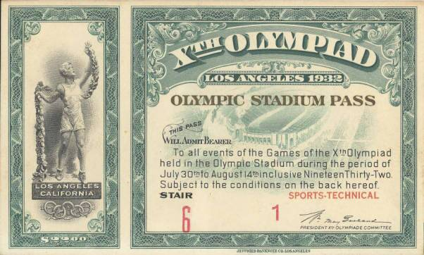 "Admission pass for ""Olympic Stadium,"" as the Los Angeles Memorial Coliseum was known during the 1932 summer games"
