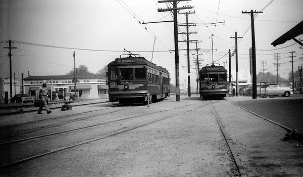 Pacific Electric trolleys near the North Hollywood station along the Burbank Branch. Photo by Alan Weeks, courtesy of the Metro Transportation Library and Archive.